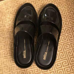 Melissa LIKENEW! black slide on sandals size 8